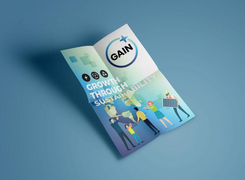 Folded leaflet and poster for sustainability enterprise