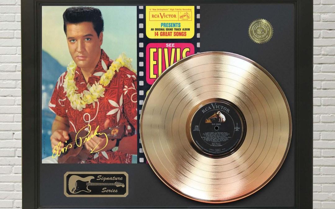 Elvis Presley – Blue Hawaii Framed Signature Gold LP Record Display M4