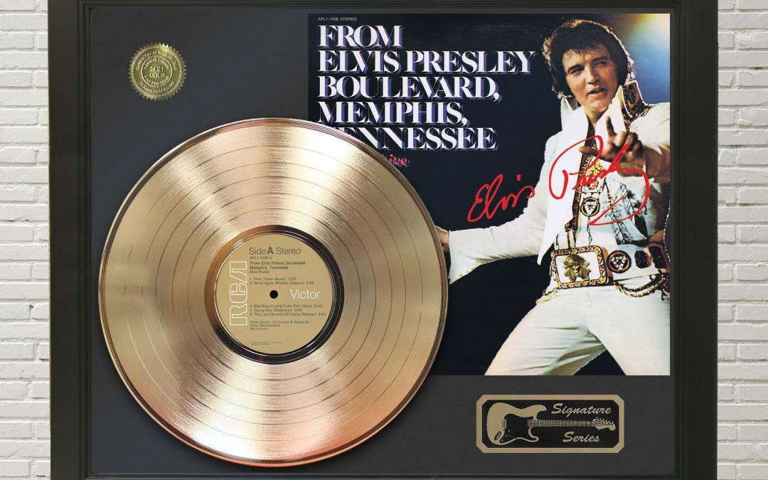 Elvis Presley – Boulevard Framed Signature Gold LP Record Display M4