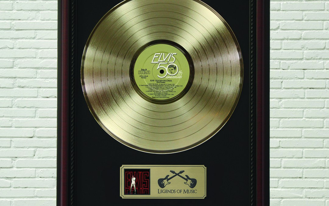 Elvis Presley – 50th Anniversary Framed Cherry Wood Legends Gold LP Record Display M4