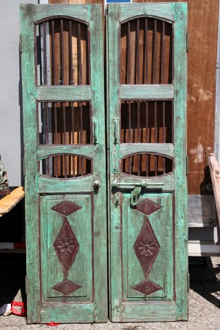 Wooden pair of doors.