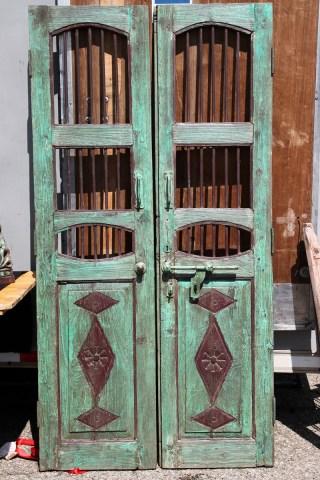 Wooden pair of doors.
