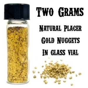 TWO GRAMS of GOLD Nuggets In Glass Vial.  Real Gold Guarantee!  Free Ship!