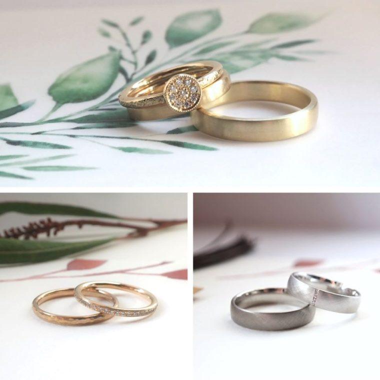 Nachhaltige Eheringe aus Gold mit Brillant kombinierbar
