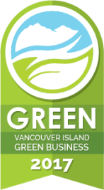 Green level Vancouver Island Green Business 2017 badge.