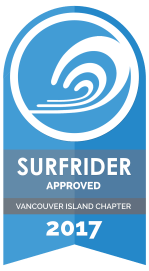 Surfrider Approved Vancouver Island Chapter 2017 badge.