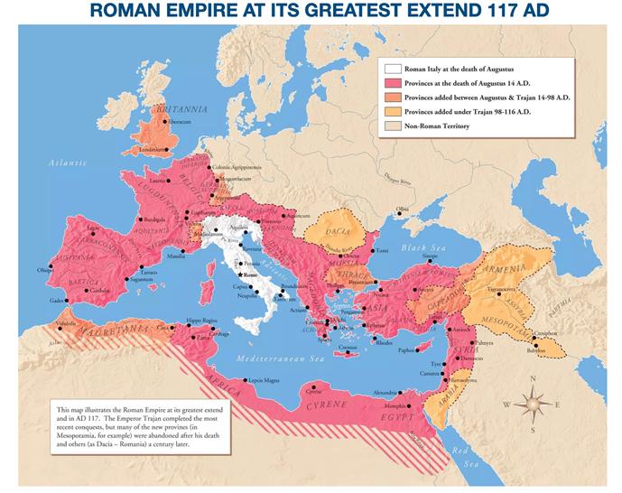 Map of the Roman Empire.