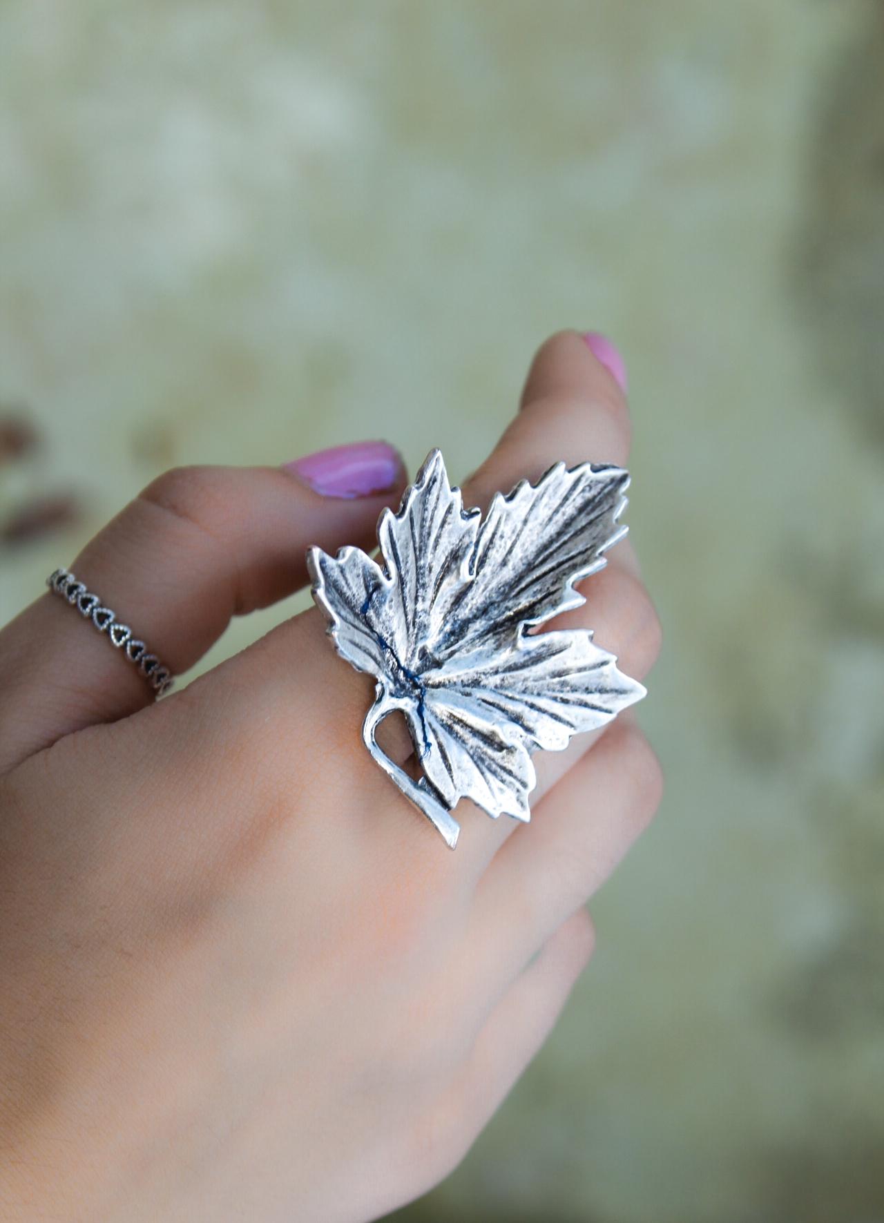 Maple Leaf Silver Ring