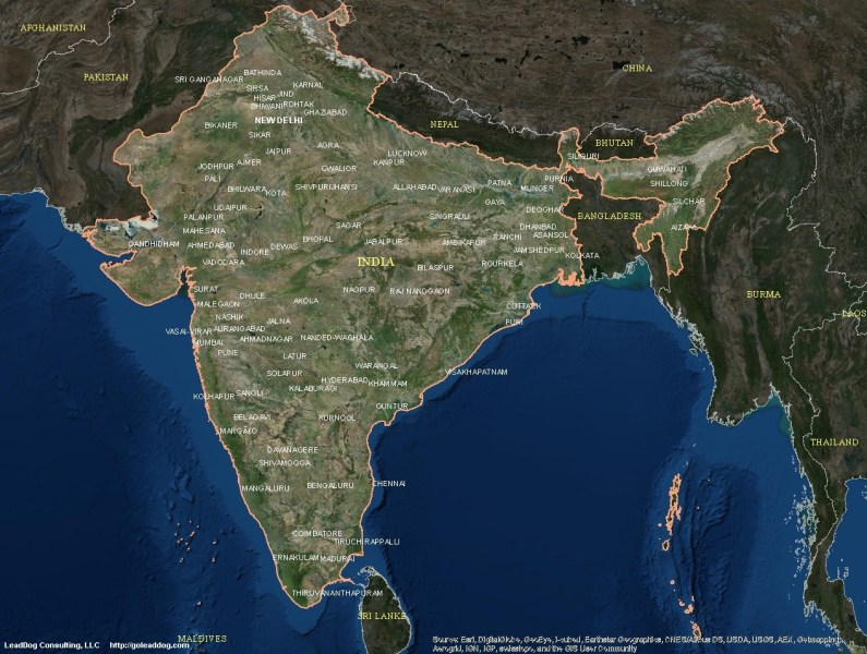 India Satellite Maps   LeadDog Consulting New Delhi  India Satellite Map