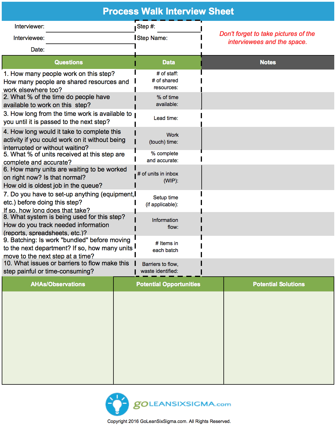 Process Walk Interview Sheet Aka Gemba Walk Interview
