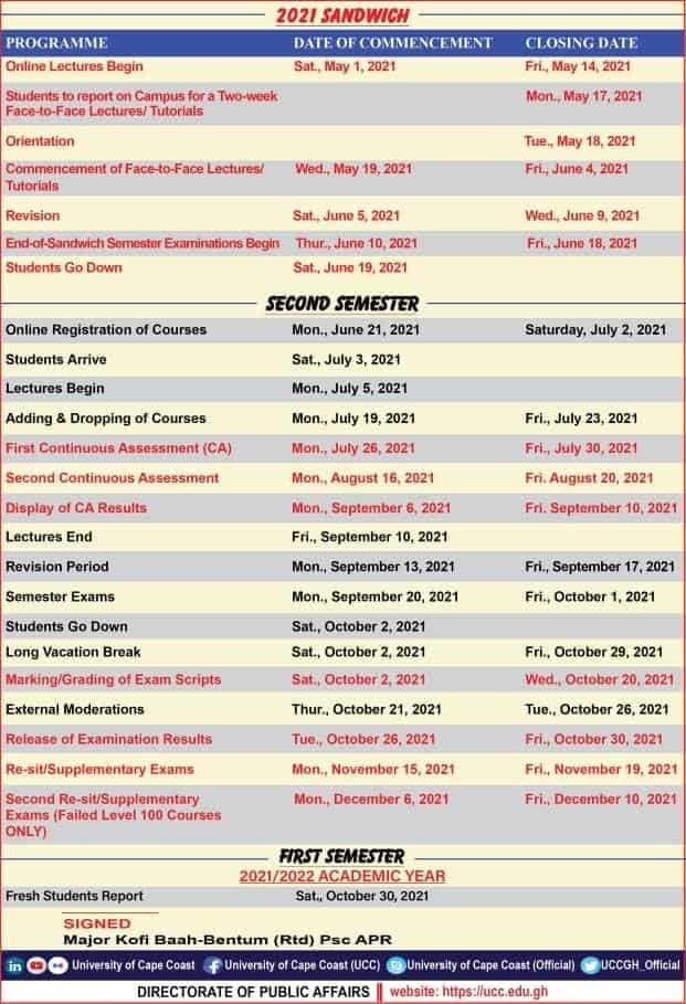 See below the Ucc Academic calendar for the 2020/2021 year (First Semester)