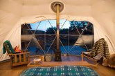 The interior of one of the Pods created by Fforest a company we admire operating in South Wales