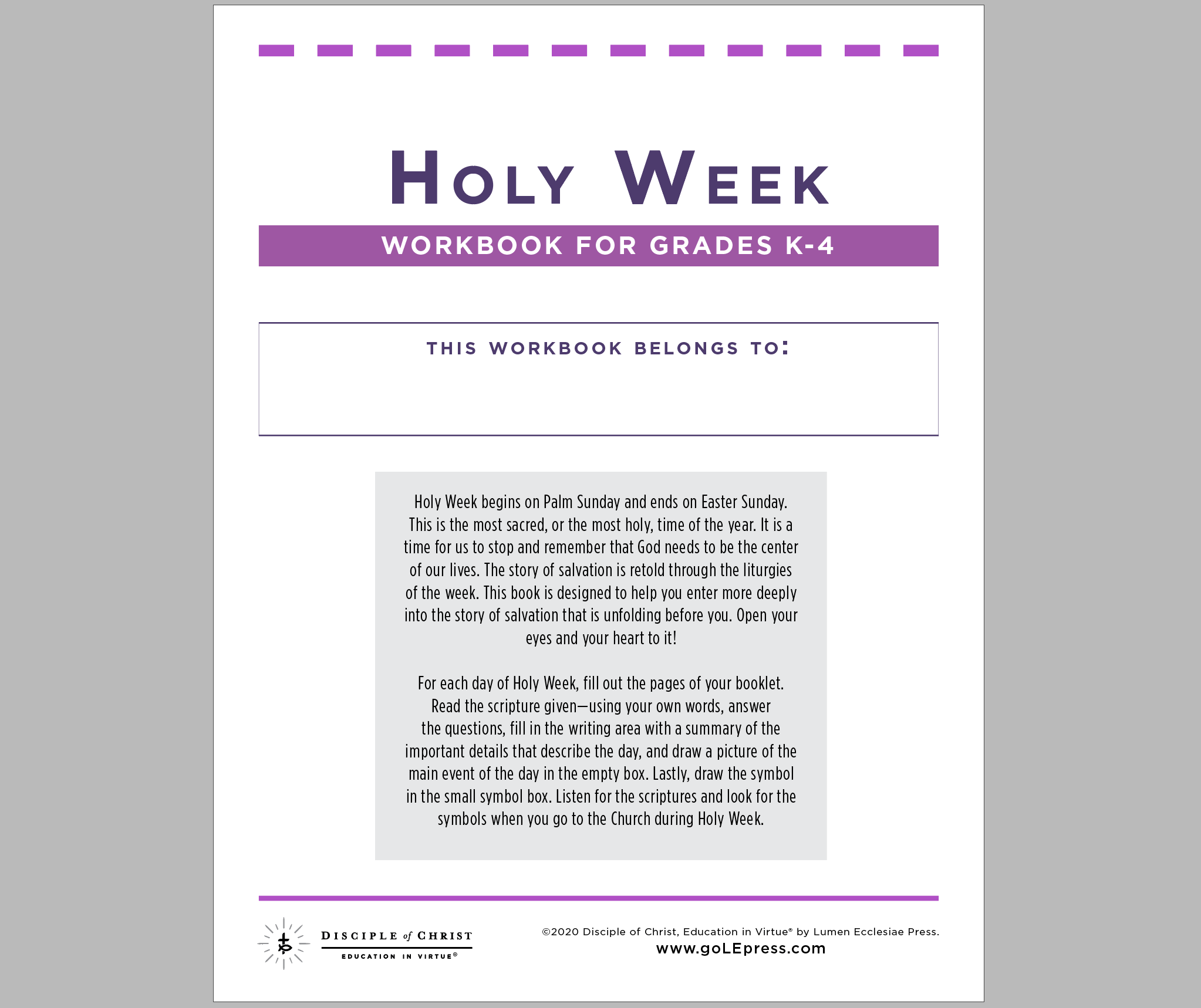 Holy Week Worksheets Lumen Ecclesiae Press