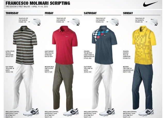 7c5852c1 Nike 2013 Masters Apparel Scripts: Tiger Woods, Rory McIlroy & More ...