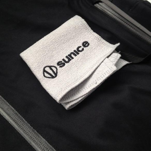 Towel in left pocket.