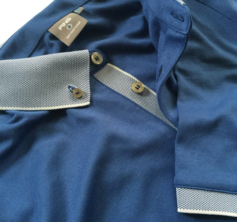 The Wes Polo with textured inner placket, button-down collar and sleeve hems.