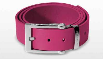 Leather Belt in hot pink