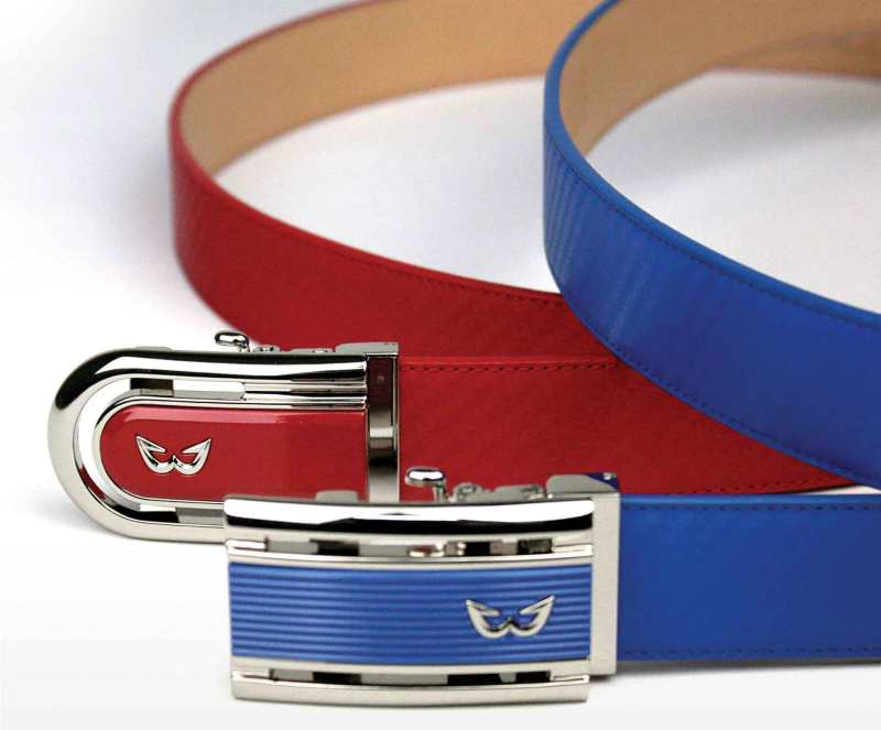 White Ball Sports Collection Belts with Zen R Buckle (top) and Zen Q Buckle (bottom)