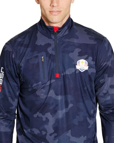 Printed Stars and Stripes Tonal French Navy Camo Brushed Back Tech Jersey Half Zip Pullover
