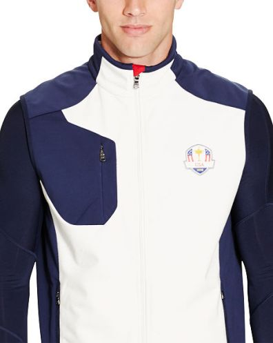 Pure White, French Navy and RL Red Laminated Micropique Full Zip Vest