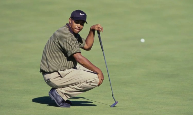Tiger Woods during his first professional win at the 1996 Las Vegas Invitational at TPC Summerlin Golf Course.