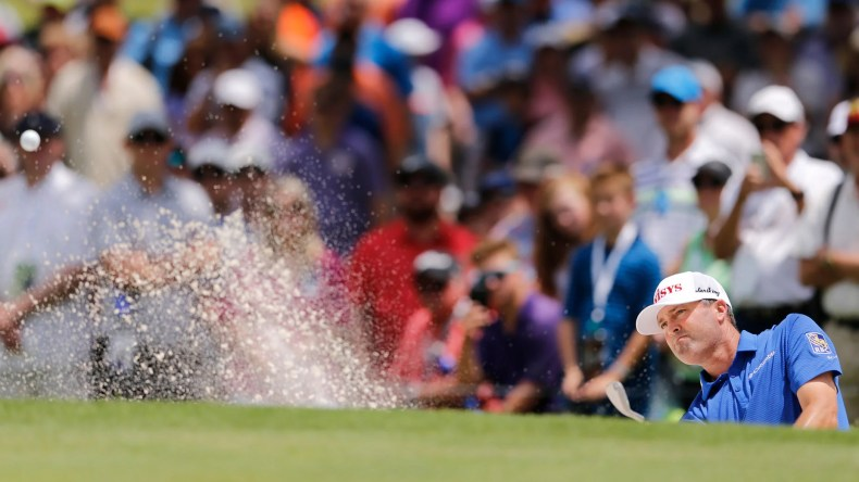 Ryan Palmer hits out of the sand during last year's Charles Schwab Challenge.