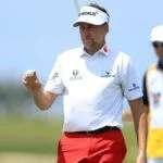 Pro golfer Ian Poulter on putting green