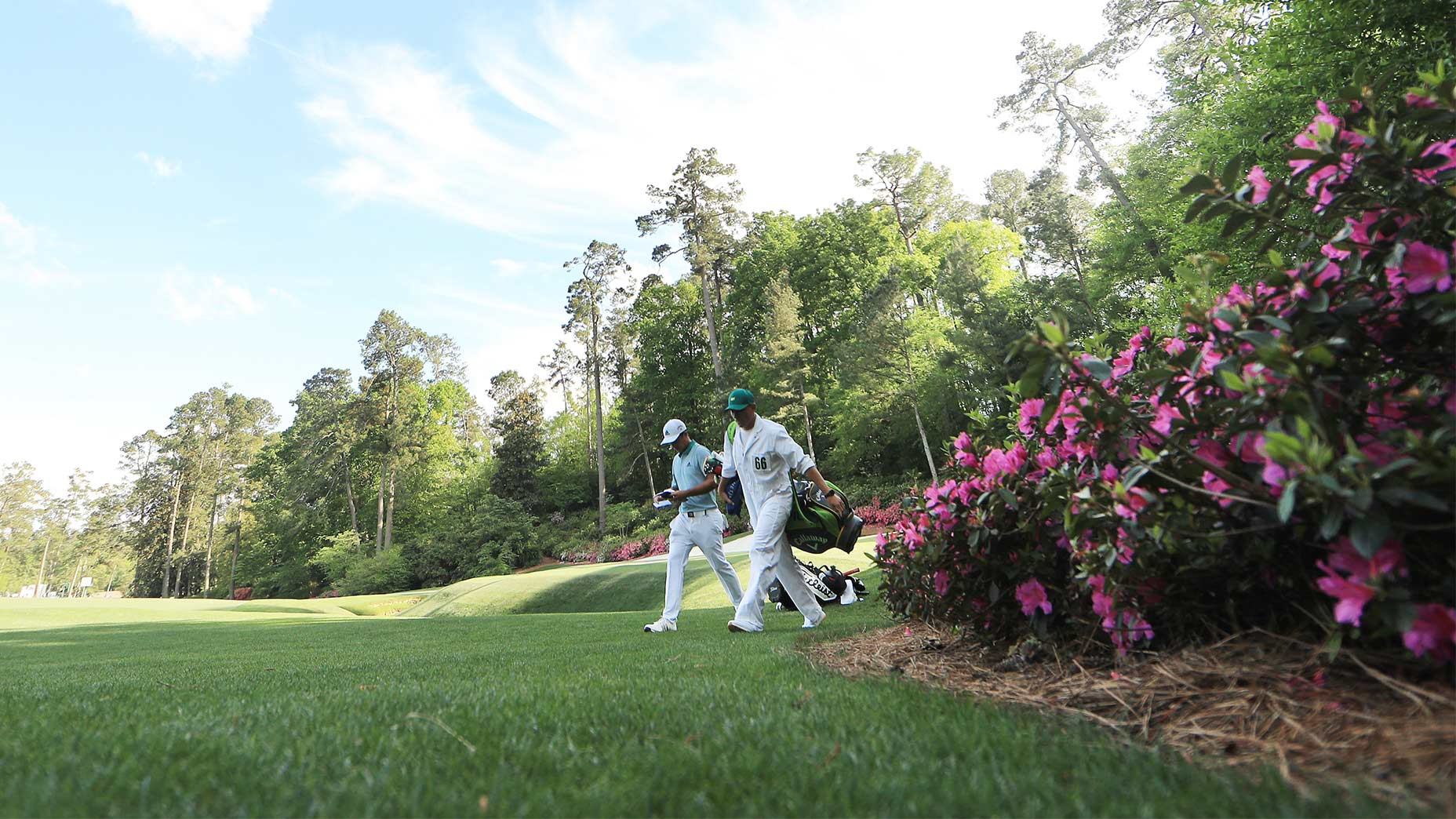 Xander Schauffele walks to the 13th fairway at Augusta National during the 2019 Masters.