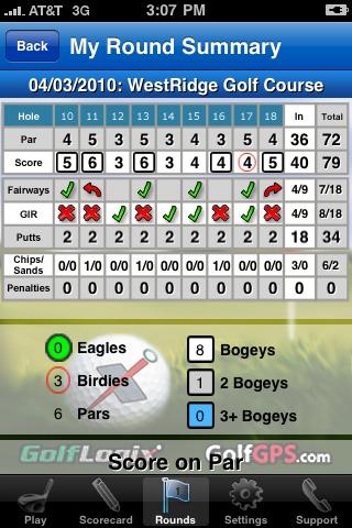 GolfLogix iPhone app - round summary back nine