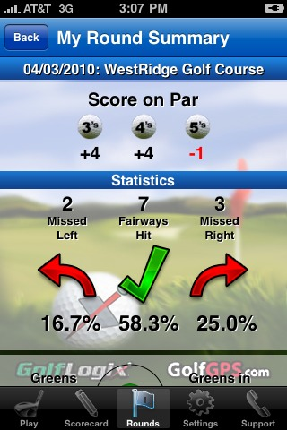 GolfLogix iPhone app - round summary driving