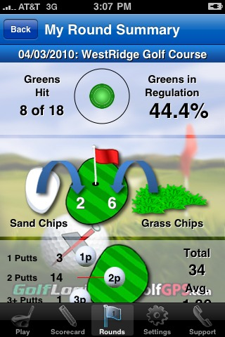 GolfLogix iPhone app - round summary updown