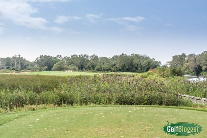 The eighteenth at Harbor Shores is a 420 yard par 4