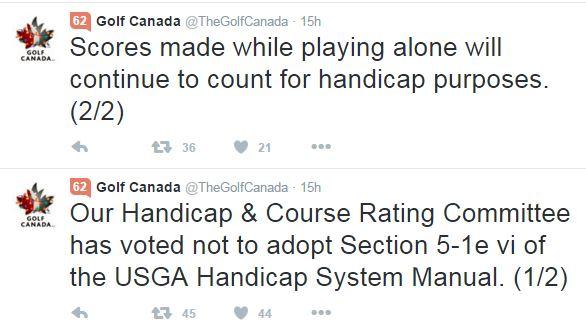 Unlike The USGA, Golf Canada Doesn't Believe Its Members Are Liars
