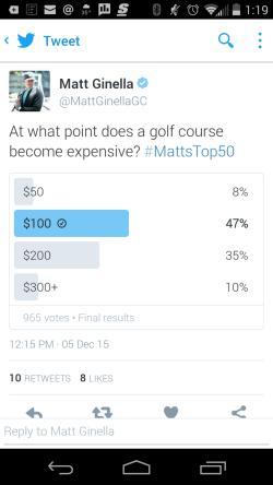 Top 50 Golf Course Survey
