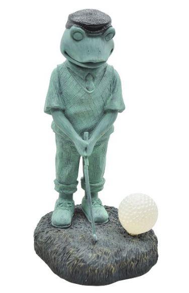golfer frog yard statue