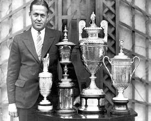 Bobby Jones With His Grand Slam Trophies