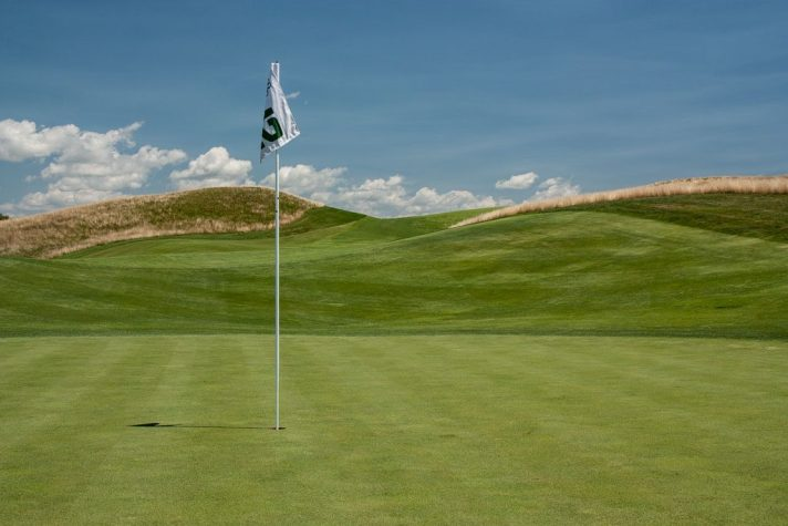 A view of the twelfth from behind the flagstick on the par 4 twelfth.