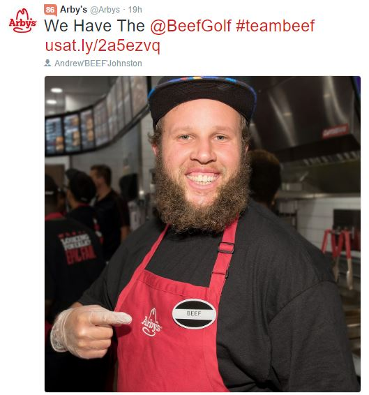 """Andrew """"Beef"""" Johnston Signs With Arbys"""
