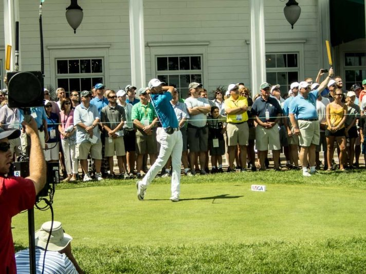 Curtis Luck tees off on the first hole in the afternoon round of the finals.