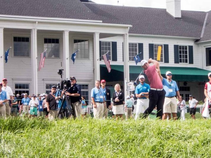 Brad Dalke tees off on the tenth during the afternoon round of the US Amateur.