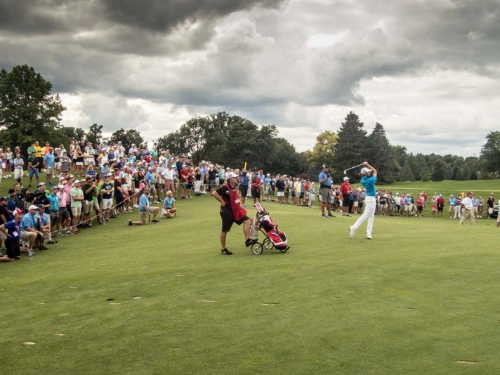 Curtis Luck plays a shot to the eleventh green during the afternoon round of the US Amateur