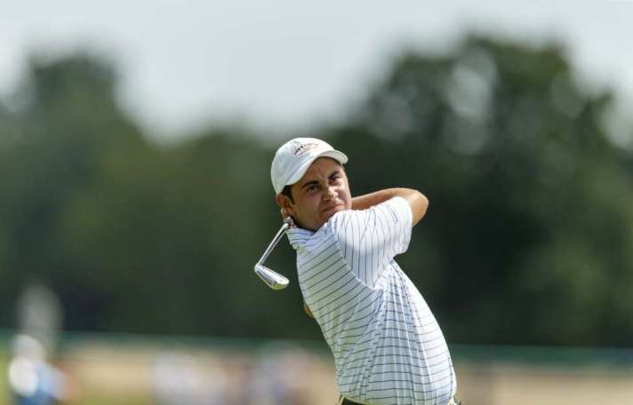 Luis Gagne plays his tee shot on the third hole during the third round match play at the 2016 U.S. Amateur at Oakland Hills Country Club in Bloomfield Hills, Mich. on Thursday, Aug. 18, 2016. (Copyright USGA/Chris Keane)
