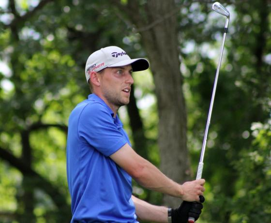 Matt Thompson in the final round of the 100th Michigan Open at Prestwick Village Wednesday
