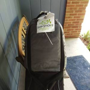 My clubs waiting on the front porch for pickup via Ship Sticks.