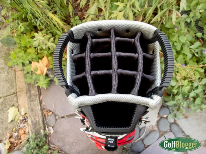 A view of the top of the Big Max Aqua Sport 2 Golf Bag, showing the dividers.