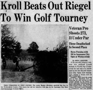 Ted Kroll Wins First Travelers Championship/ Insurance City Open in Driving Rain – 1952