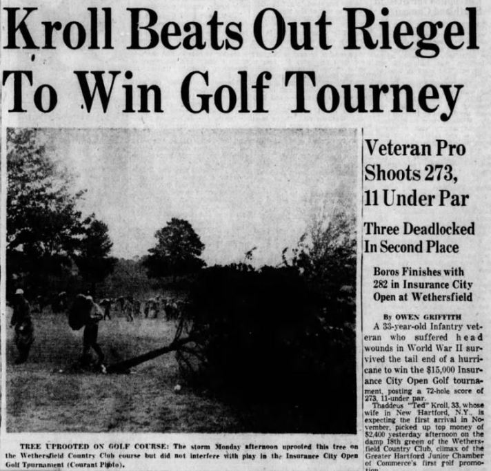 Ted Kroll Wins First Travelers Championship/ Insurance City Open in Driving Rain - 1952