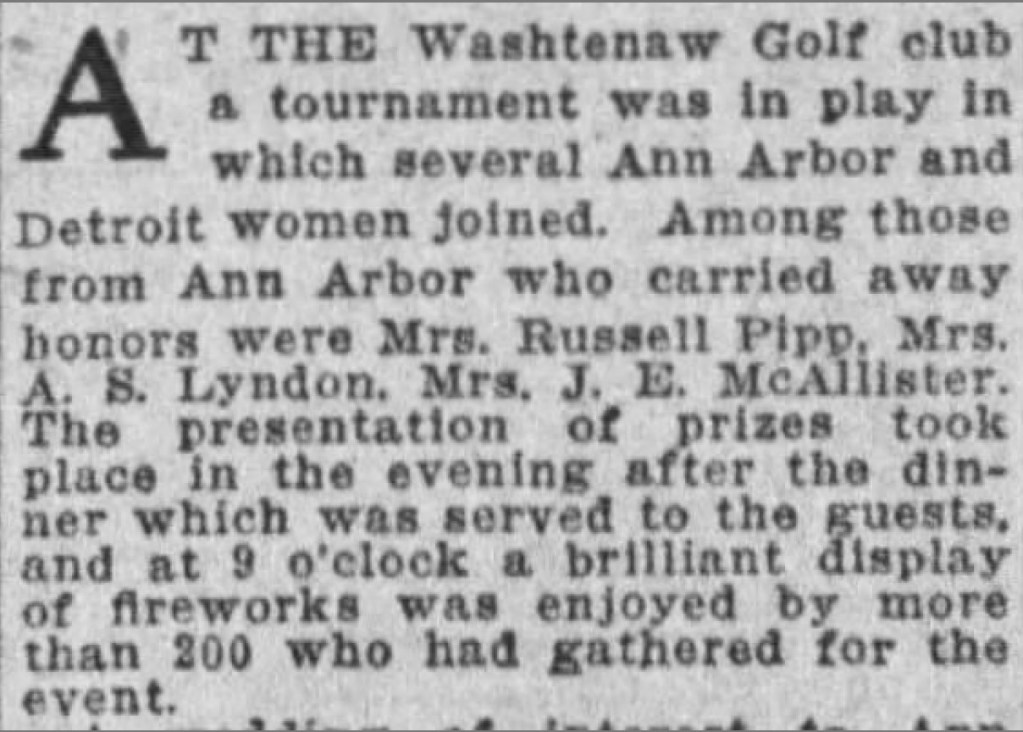 Women's Golf Tournament Held At Washtenaw Golf Club In 1927