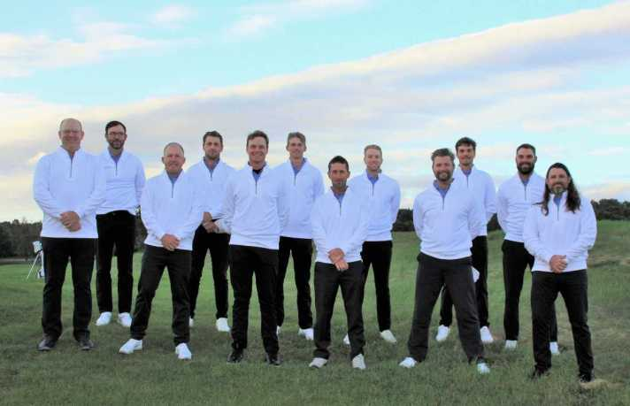 GAM Tops Michigan PGA In 49th Fuller Cup Matches from left, Mike Anderson, Jimmy Chestnut, Ryan Johnson, Tyler Copp, Bradley Smithson, August Meekhof, Anthony Sorentino, Tyler Rayman, Brad Bastion, Charlie DeLong, Dan Ellis, John Quigley.