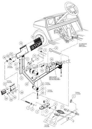 Brake Pedal & Cable Assembly  GolfCartPartsDirect